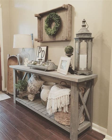 entry decor diy farmhouse console table super excited farm house