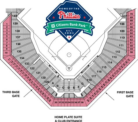 citizens bank park tickets citizens bank park seating chart with seat numbers