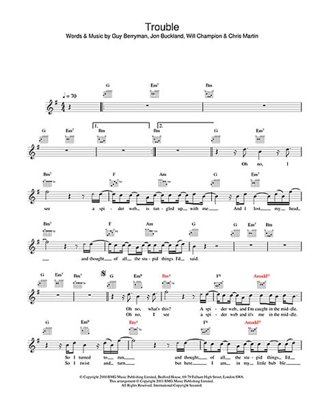 coldplay trouble lyrics trouble chords by coldplay melody line lyrics chords