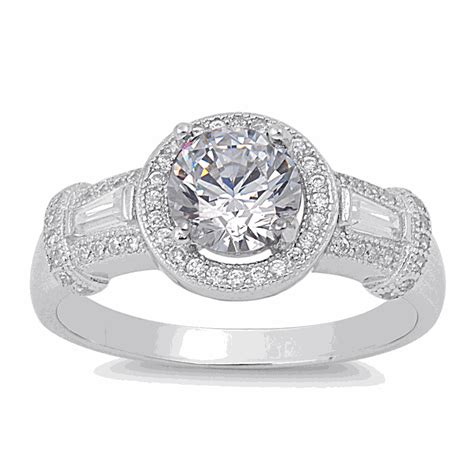 halo ring sterling silver cz halo ring