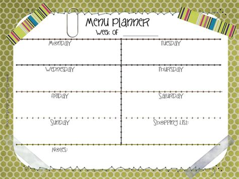 dinner calendar template printable meal planners