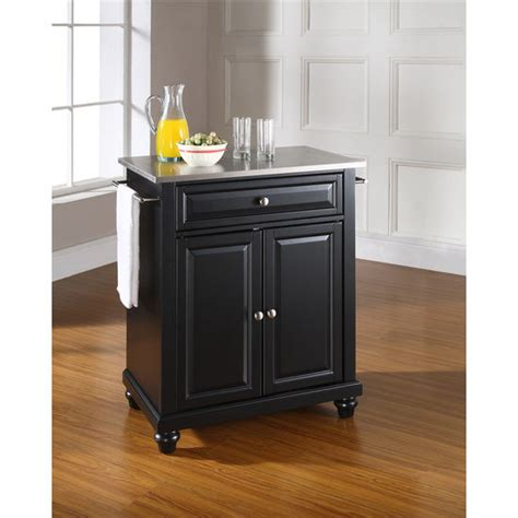 crosley steel kitchen cabinets crosley furniture cambridge stainless steel top portable kitchen cart or island in black