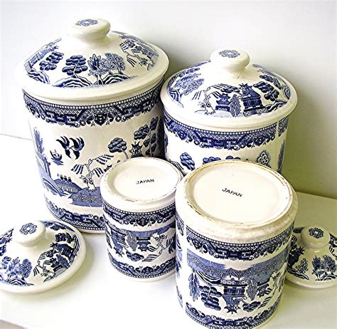Blue And White Kitchen Canisters by Vintage Blue Willow China Canister Set Blue And White