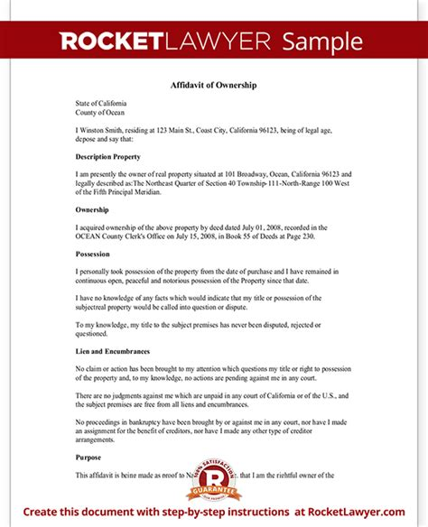 Certification Letter For Ownership Affidavit Of Ownership Form Property Vehicle Ownership