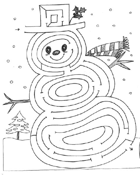 printable winter maze advent coloring pages christmas snowman maze and