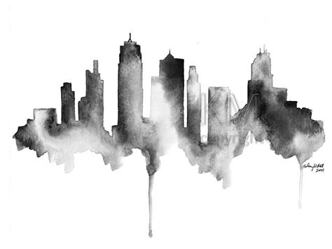 watercolor tattoo kansas city city skyline drawing www imgkid the image kid has it