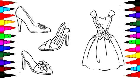 barbie rainbow coloring pages coloring pages barbie dress and shoes coloring book videos