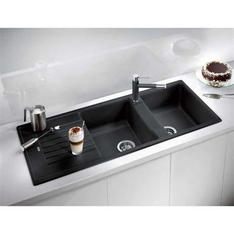 black kitchen sink composite granite blanco zia 210 double bowl sink black