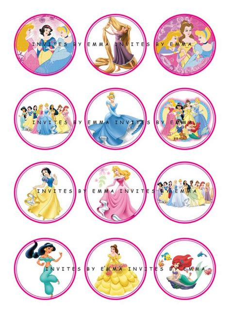 printable stickers disney printable 12 mixed disney princess party cup cake toppers