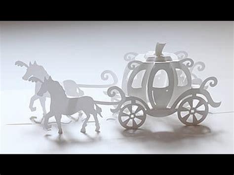 cinderella pop up card template 180 deg cinderella carriage pop up card