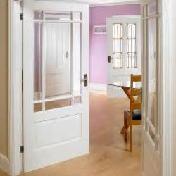 White Half Glass Interior Doors Downham White Primed Door Pair With Bevelled Clear Safety Glass