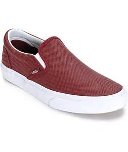 vans classic port perforated leather slip on shoes womens
