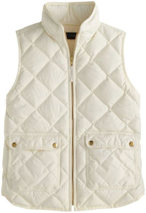 White Quilted Vest j crew excursion quilted vest in white bright ivory