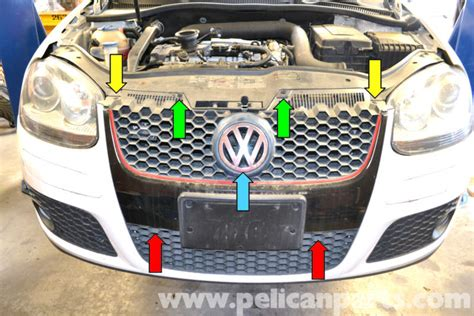 how to remove the grill from a 2006 kia sedona volkswagen golf gti mk v radiator grill and front badge removal 2006 2009 pelican parts diy