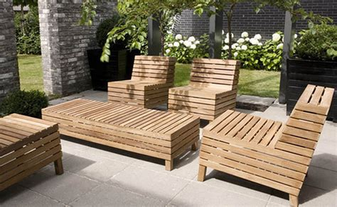 Wooden Outdoor Furniture Modern Patio Furniture With Chic Treatment For Fancy House