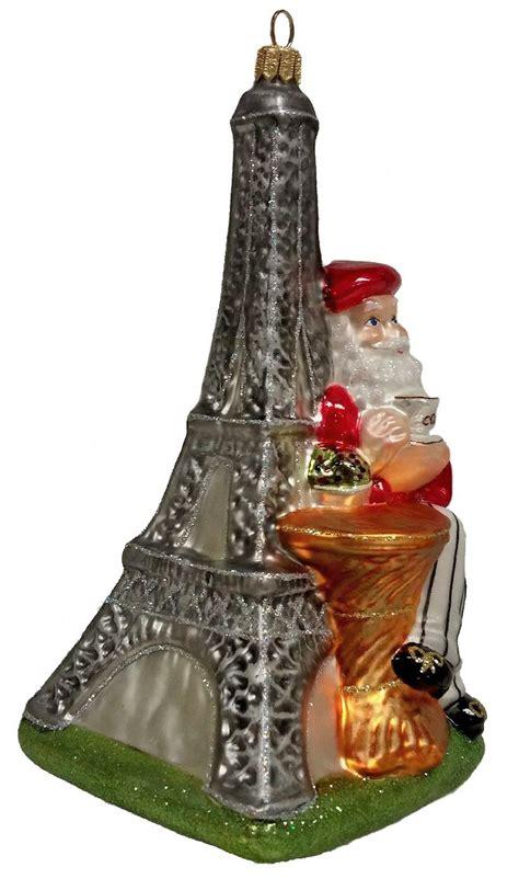 eiffel tower tree ornament santa with eiffel tower glass