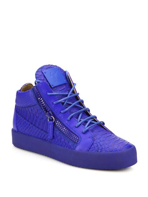 giuseppe zanotti blue sneakers lyst giuseppe zanotti embossed leather zip