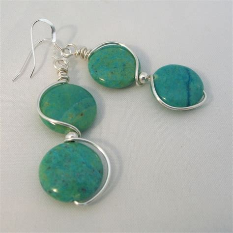 blue green jasper wire wrapped earrings craft ideas