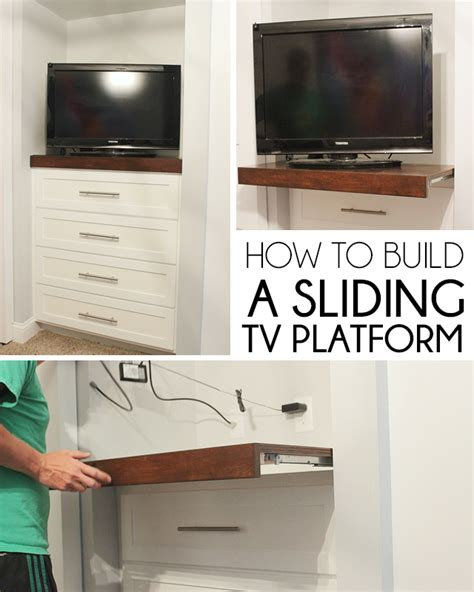 How To Make A L At Home With Paper - remodelaholic how to install a sliding tv platform