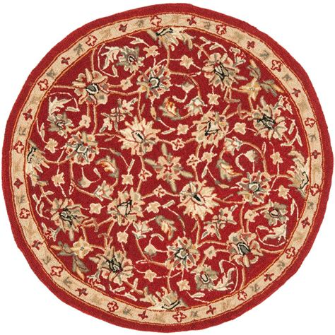 Safavieh Chelsea Burgundy Ivory 3 Ft X 3 Ft Round Area 3 Foot Rugs