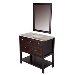 Bathroom Vanity Home Depot St Paul Ashland 36 Inch W Vanity In Chocolate Finish With Top In Travertine And Mirror The