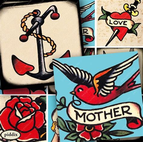 collage tattoo designs vintage designs sailor jerry flash digital