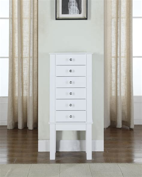 white jewellery armoire crystal jewelry armoire white