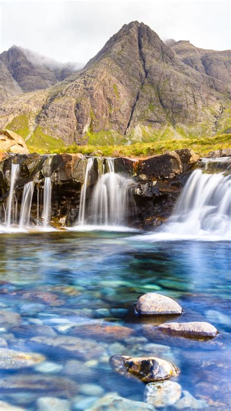 wallpaper fairy pools waterfall isle  skye scotland