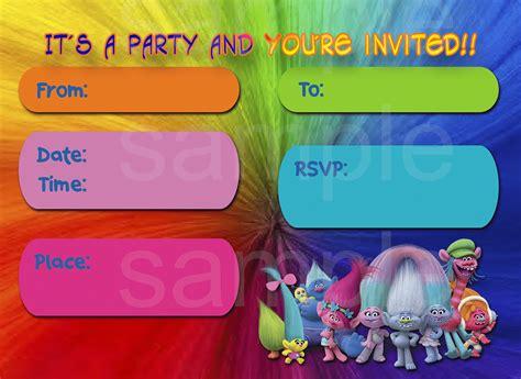 Printable Trolls Invitations