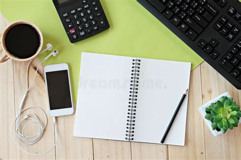 mock   office table desk workspace  blank notebook