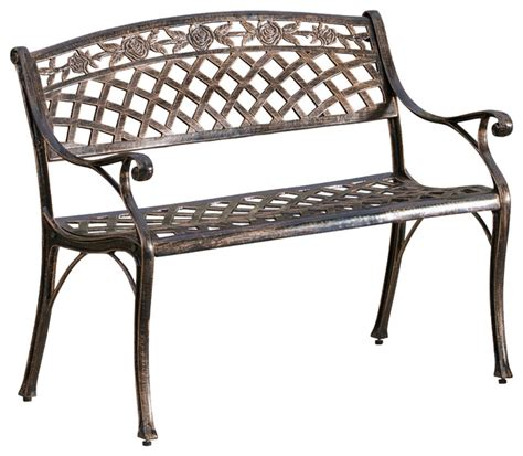 aluminum benches casablanca outdoor copper cast aluminum bench contemporary outdoor benches by