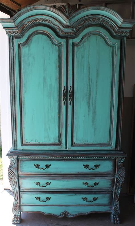 Armoire Patinée by Aqua Turquoise Armoire With Aged Copper Patina