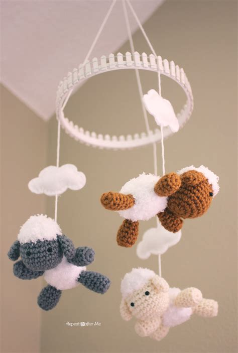 Pattern Mobile Html | crochet lamb pattern and baby mobile repeat crafter me