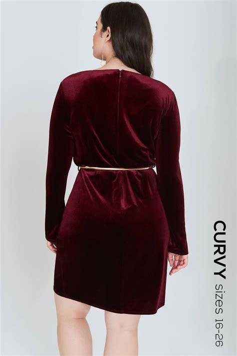 outlet on burgundy velvet wrap dress with belt