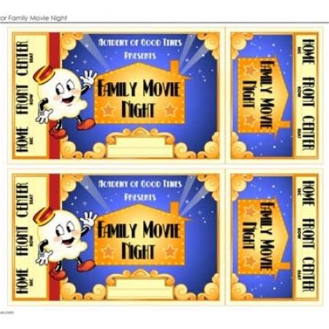 printable movie night tickets family movie night movies at and movies free on pinterest
