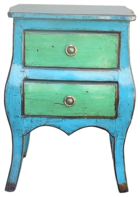 Green Nightstand Table Blue And Green Lacquer Nightstand Contemporary