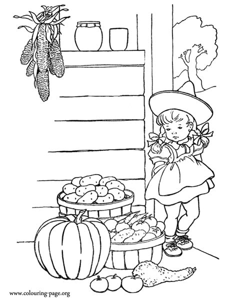 little girl pilgrim coloring page thanksgiving little girl with baskets full of vegetables