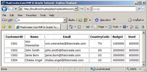 tutorial php list php oracle list record