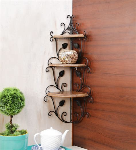 Wall Corner Rack by Buy Onlineshoppee Brown Mango Wood Corner Rack Colonial Wall Shelves Wall Shelves