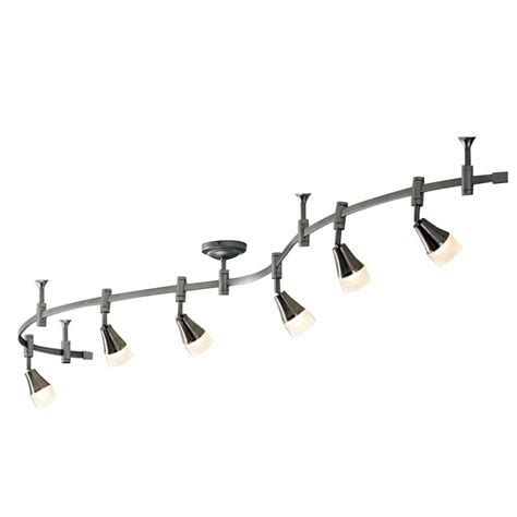 lowes pendant track lights shop allen roth 6 light 96 in brushed nickel dimmable