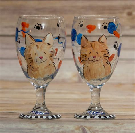 Orange Tabby Cat painted wine glasses custom with your