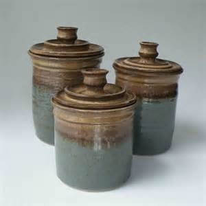 blue kitchen canister pottery canister set ships in 1 week kitchen set of 3 jars
