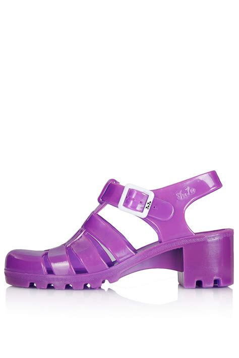 Wedges Jelly Permata Bbl501 2 lyst topshop heeled jelly sandals in purple