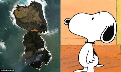 snoopy island volcanic eruption forms  land mass  resembles famous cartoon character