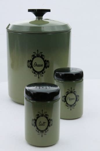 green kitchen canister set retro avocado green metal kitchen range set grease canister jar s p shaker tins
