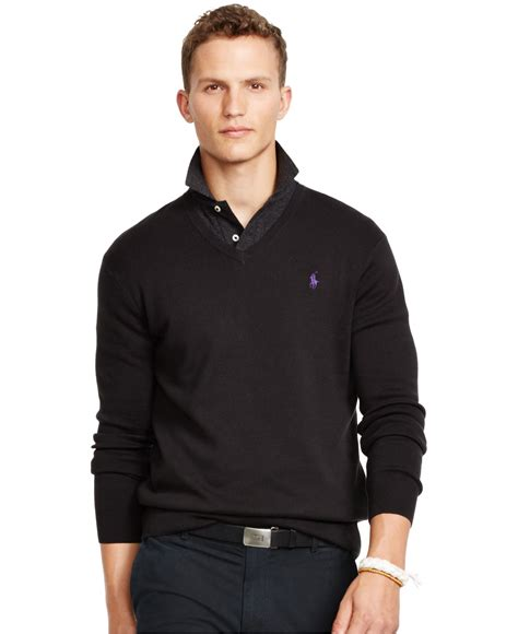Hoodie Jumper Polos Black Jmp3 polo ralph pima v neck sweater in black for polo black lyst