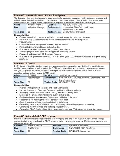 hr qa sap tester resume