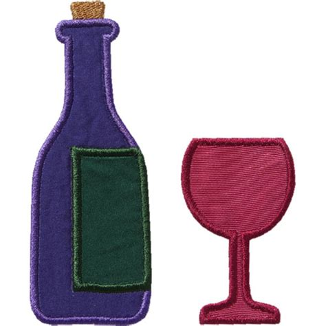 glass applique wine and glass applique design