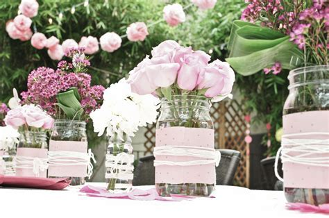 romantic wedding centerpieces mason jars   OneWed.com