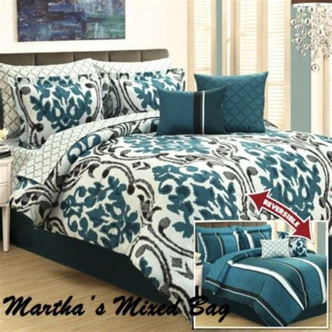 Teal Bed Set Damask Arabesque Stripes Teal Black Gray King Size Comforter Bedding Set